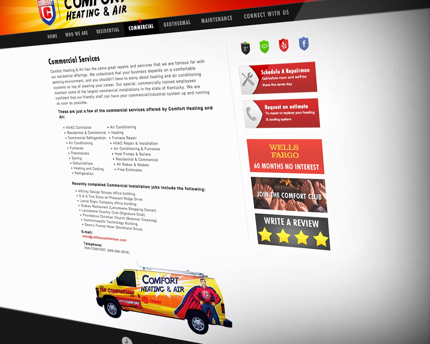 Website Design for Lexington's Comfort Heating and Air