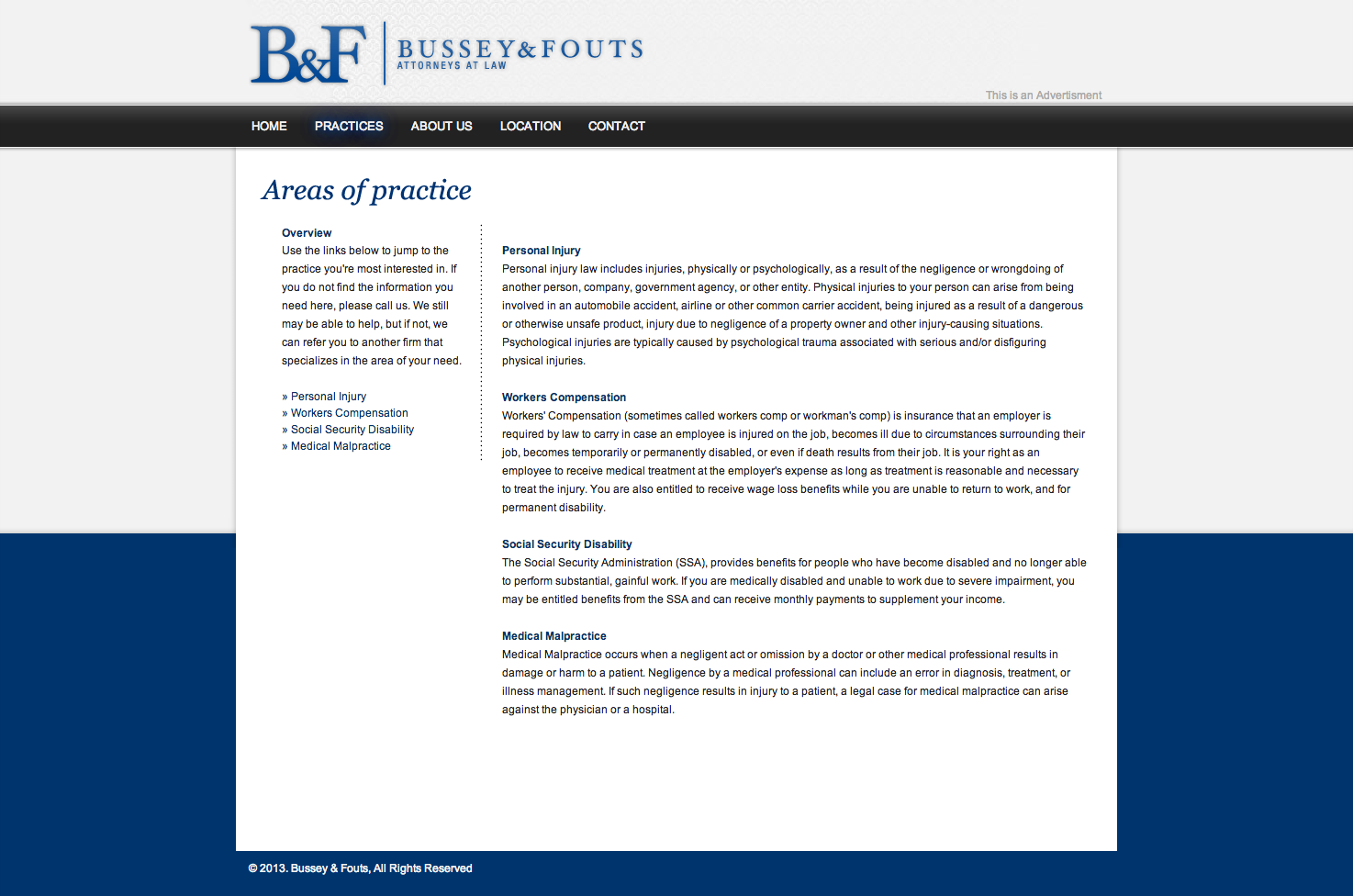 Areas of practice page for Bussey and Fouts